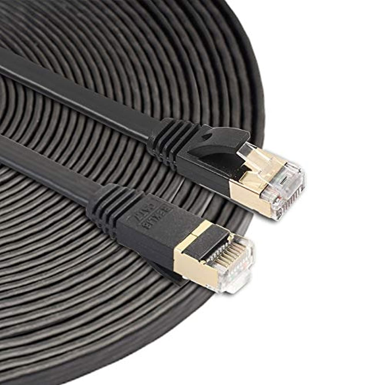 Computer Cables 15m CAT7 10 Gigabit Ethernet Ultra Flat Patch Cable for Modem Router LAN Network - Built with Shielded RJ45 Connectors Network Cables