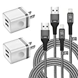 WHIRELEAST iPhone Charger Cable 6 FT with Wall Plug, Braided Long iPhone Charging Cord + Dual USB Wall Charger Block Adapter Compatible with iPhone 11/11 Pro Max/XS/XR/X/8/7/6 Plus, iPad (4-Pack)