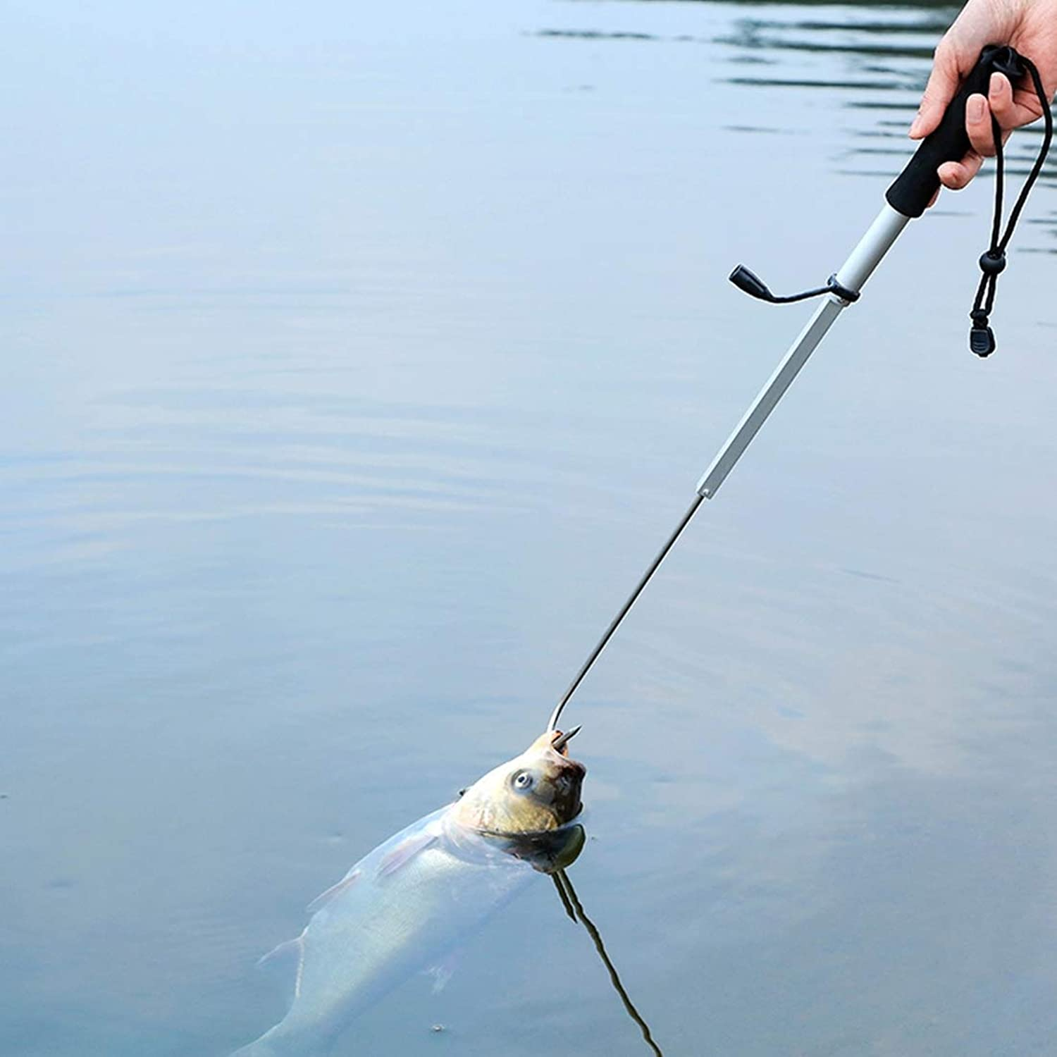Professional Extendable Fishing Spear Hook Tackle Fishing Landing Gaff with String 95cm