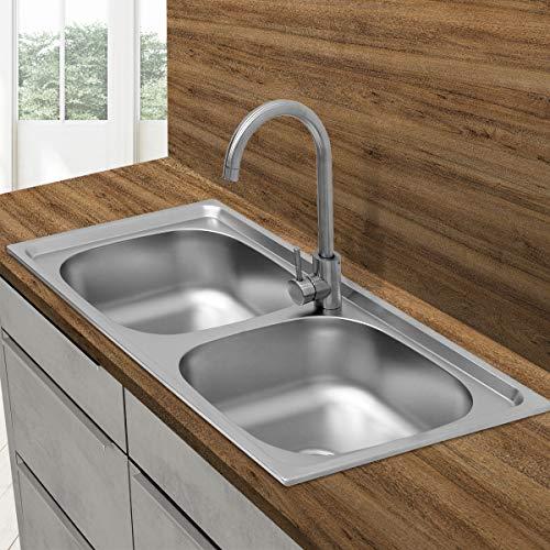 ECD Germany Lavello Doppio da Incasso Cucina 82 x 48 cm Lavandino con Set di Scarico - 2 Vasche - Acciaio Inox Spazzolato Satinato - Lavabo Quadrato M