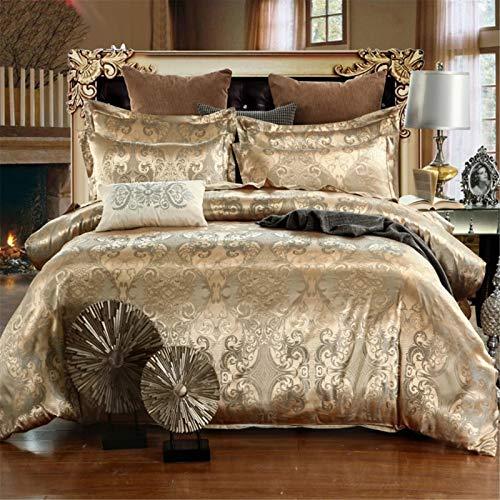 Splendido set di biancheria da letto in raso jacquard, lussuoso raso floreale jacquard, copripiumino e federa per cuscino, per decorazione camera da letto in microfibra (oro rosa, 220 x 240)