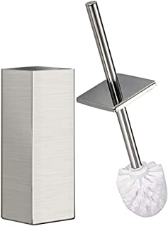 DOWRY Stainless Steel Toilet Brush and Holder, Pack of 1,Toilet Bowl Cleaner Brush Set for Bathroom Toilet Brushed Nickel Finish (Square Nickel) S202-4
