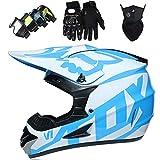 Casco Moto Cross Niños, Set Casco MTB Cara Completa con Gafas Guantes Máscara, Casco de Motocross Adulto Joven con Fox Design, para Dirt Bike ATV Off Road, Certificado DOT, Blanco Azul