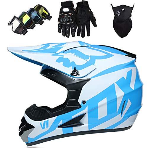 Casco Motocross Niño, Cascos Integrales set con Guantes/Gafas/Máscara, DTC & ECE Certificación, Cascos Cross Moto para BMX Bicicleta Dirt Bike MTB ATV Offroad DH - con Diseño FOX