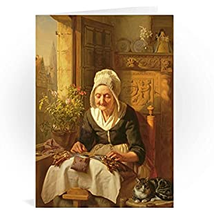 The Old Lacemaker, 1844 (panel) by J.L... - Greeting Card (Pack of 2) - 7x5 inch - Art247 - Standard Size - Pack Of 2