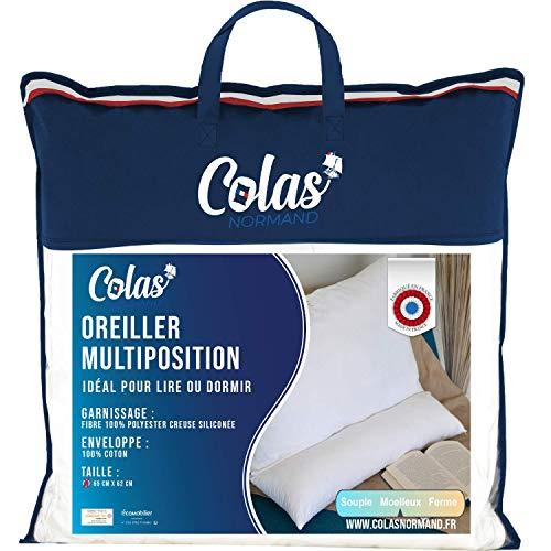 COLAS NORMAND - Almohada multiposición Suave 62 x 65 cm, 100% algodón, ergonómica, Almohada de Lectura, cuña de Espalda, sofá y Cama, Ajustable, Lavable, fabricación Francesa, Color Blanco