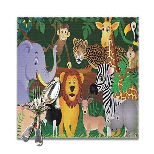 Animals in the Jungle Funny Expressions Exotic Comic Cheer Natural Habitat Illustration Platzsets für Esstisch, waschbar, 30,5 x 30,5 cm, 4 Stück