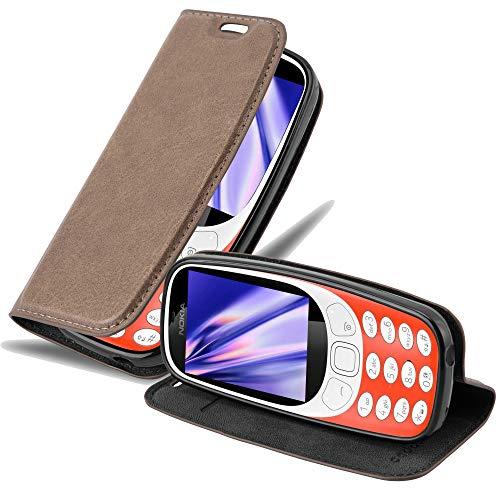 Cadorabo Hülle für Nokia 3310 in Kaffee BRAUN - Handyhülle mit Magnetverschluss, Standfunktion & Kartenfach - Hülle Cover Schutzhülle Etui Tasche Book Klapp Style