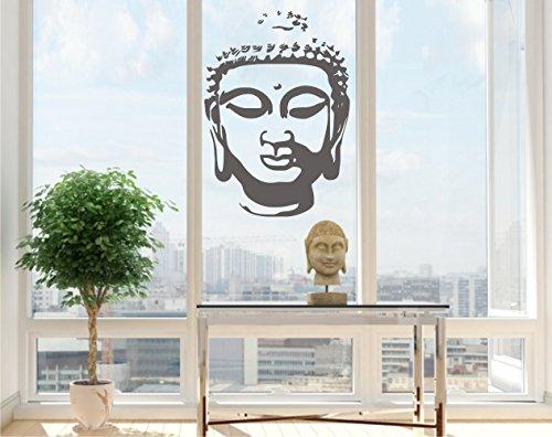 Sticker mural Tête de Bouddha autocollant Tête de Bouddha Sticker mural 60 x 80 cm 33 couleurs mat ou brillant - Gris mat