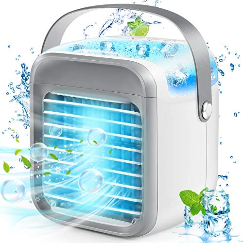 Portable Air Conditioner Fan, Personal Space Air Cooler Desk Fan Ultra-Quiet, Compact Evaporative Cooler, 3 Speeds Humidifier Misting Cooling Fan with 7 Colors Lights for Home Office Bedroom