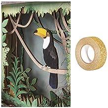 RAYHER houten lijst met 3D-motief Toucan 24 x 24 cm + Masking Tape Gold Pailletten 5 m gratis