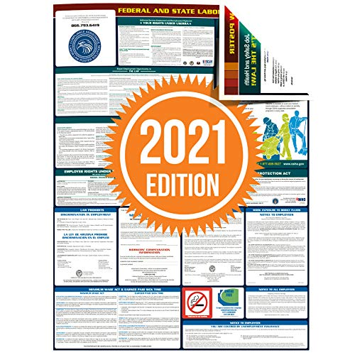Compliance Assistance - 2021 South Carolina State and Federal All-in-one Labor Law Poster - Laminated (English)