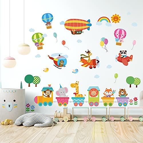 onetoze Pegatinas de Pared Animales el Tren Decorativos Infantiles Elefante jirafa Globo Aerostático Decorativas Pared Adhesivos Bebés Niños Guardería, 97x157cm