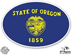 GT Graphics Oregon State Flag Oval - Vinyl Sticker Waterproof Decal