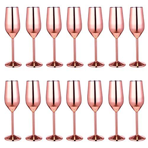 JIAYOUA Copa de Vino de Acero Inoxidable 304 Copa de cóctel de Metal Bar Restaurante Copa de champán Copa de Vino Copa 220 ml Oro Rosa