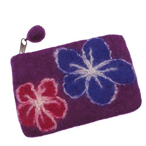 Portemonnaie aus Papier mit Blumenmuster, 150 x 100 mm, Violett