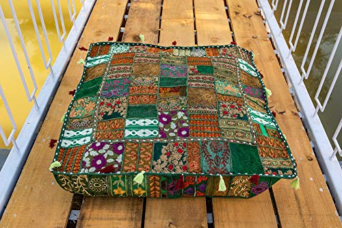 THE ART BOX Baumwolle Patchwork Vintage Boho bestickt Bodenkissen & Kissenbezug Hund Pouf Sitzpouf Meditation Kissen Haustier Bettwäsche Katzenbett Boho Home Decor (89,9 x 89,9 cm, nur Bezug)