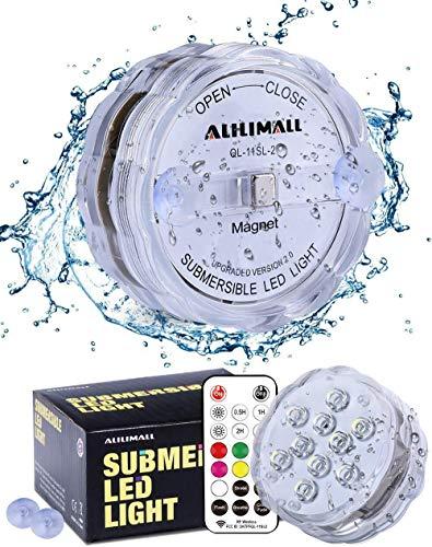 Alilimall Unterwasser Licht, Aktualisiert Pool Beleuchtungen Magnet Wasserdichtes LED Licht Mehrfarbige WRGB mit RF-Fernbedienung, Poollampe für Swimmingpool Whirlpool SPA Vasenbasis Aquarium Teich