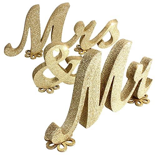 Wuuooei Mr & Mrs Matrimonio, Mr & Mrs Letters Legno Decorazione, Scritte in Legno Matrimonio, Legno Lettere Grandi per La Decorazione di Nozze Segno Superiore Tavola Presenti Décor, Oro Glitterato