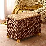 KJHGK Rattan Woven Storage Ottoman Cube StayStool Solid Wood Stepping Heces Adultos Cambiar Banco de Zapatos Decoración del hogar Pouffe-70 × 30 × 38cm