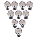 Malloom® 10 piezas Tiradores 30 mm cristal de vidrio transparente para armario puertas cajones