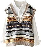 Suéter de punto sin mangas clásico vintage con cuello en V para mujer, suéter casual de otoño, chaleco chaleco superior (color: beige, tamaño: S)
