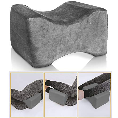 LIVIVO Memory Foam Leg Pillow Orthopaedic Reduce Pain Back Hips Knee Cushion Support With Cover (Grey)