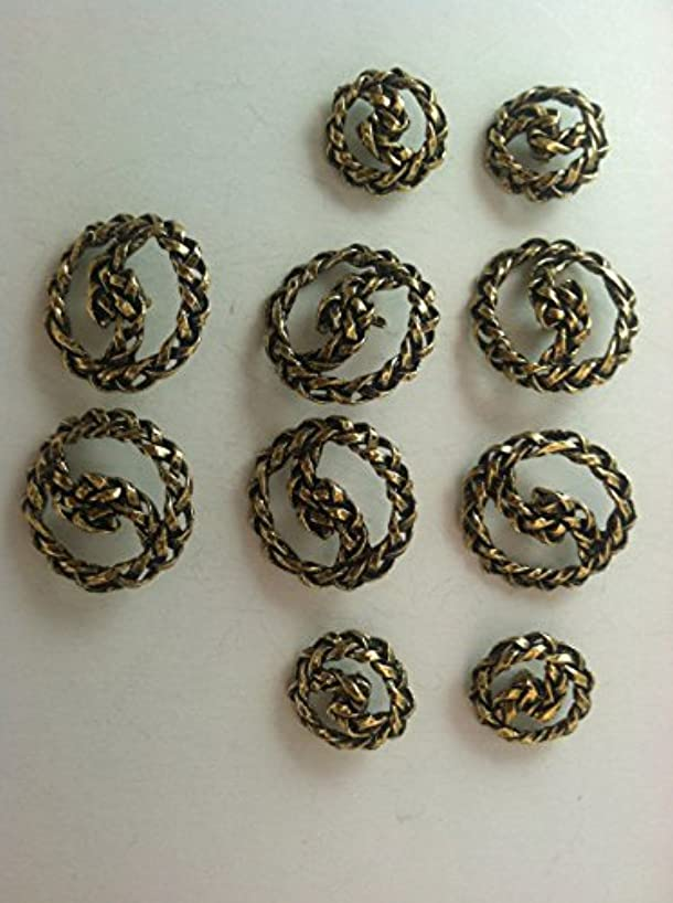 Antiqued Gold Finished ~ Rope~ Coats Blazer Buttons Sets 10 Pc.