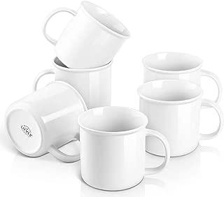 LIFVER 18 Ounces Coffee Mugs, Large Porcelain Cups for Coffee, Tea, Cocoa, Retro Style Mug Sets, Housewarming Gift, Set of 6, White