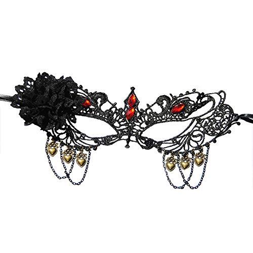 Wangrjj Mscara De Encaje para Mujer Disfraz De Encaje Veneciano Mascarada Fiesta De Carnaval Baile De Baile Mscara De Ojos Cara Disfraz Mscara De Maquillaje para Regalo De Mujer,Negro