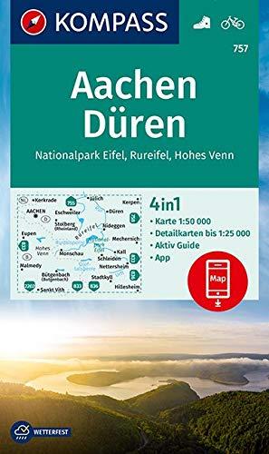 KV WK 757 Aachen, Düren, Nationalpark Eifel, Rureifel, Hohes Venn: 4in1 Wanderkarte 1:50000 mit Aktiv Guide und Detailkarten inklusive Karte zur ... (KOMPASS-Wanderkarten, Band 757)