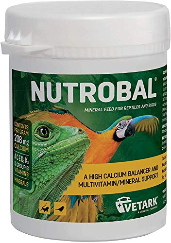 Vetark Nutrobal - a calcium balancer & multivitamin supplement to help bone growth in snakes, lizards & tortoises. Available in 2 sizes (100g)