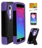 LG Leon C40 / LG Destiny L21G / LG Power L22C (T-Mobil / Metro-PCS / Tracfone / Net10), LF 4 in 1 Bundle Hybrid Dual Layer Stealth Case with Stand, Lf Stylus Pen, Screen Protector & Droid Wiper Accessory (Stand Purple)