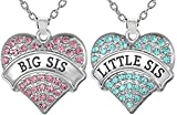 Girls Teens Big Sis & Lil Sis Heart Necklace Set, 2 Sister Necklaces, Big & Little Sisters Best...
