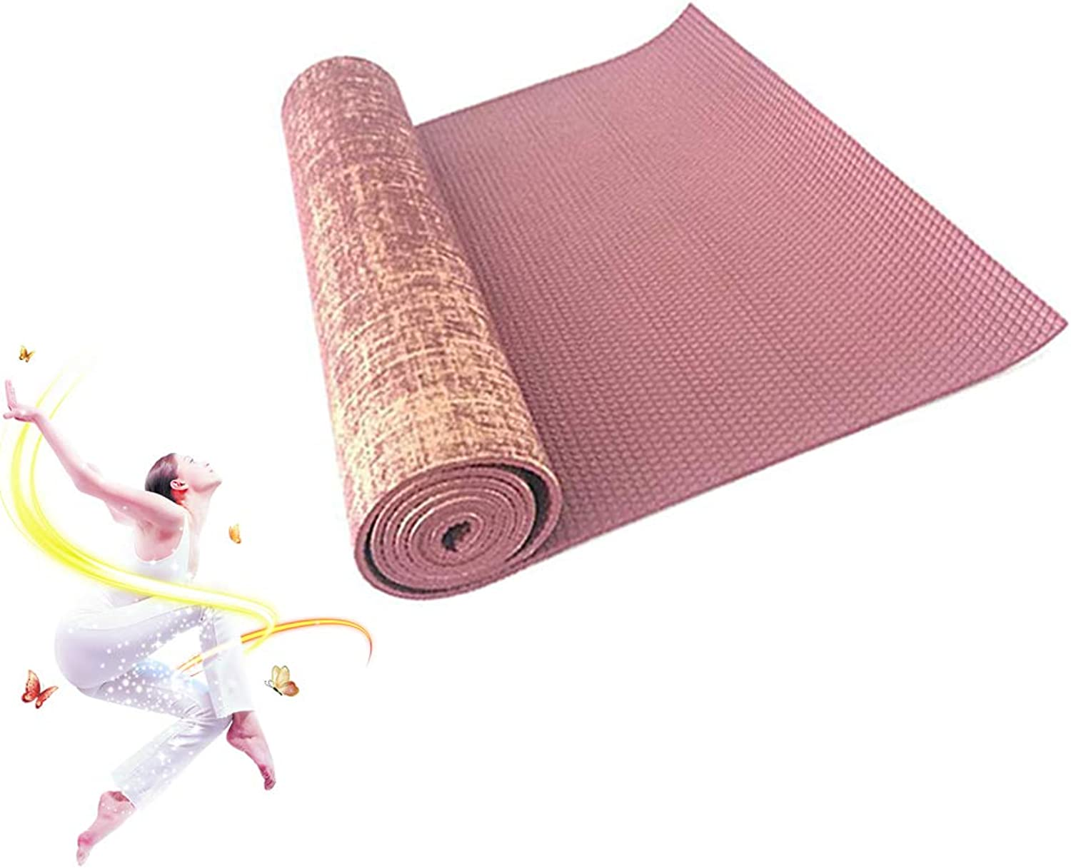 Yoga Mat 5mm Thick Exercise Fitness Workout Flax Mat Pilates Gym Suck Sweat Non-Slip 72inch x 24inch
