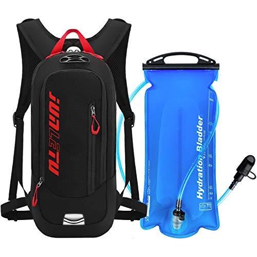 Faneam Multifunción Mochila de Hidratación Ligero,Mochila con Bolsa de Agua 2L,Unisex Mochilas Hidratacion de Trail Running,Bolsa Hidratación para Ciclismo Marathoner Senderismo Camping (Red+Black)