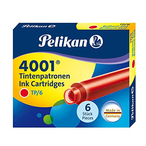 Pelikan TP6 - Cartucho Tinta estilográfica, Color Rojo