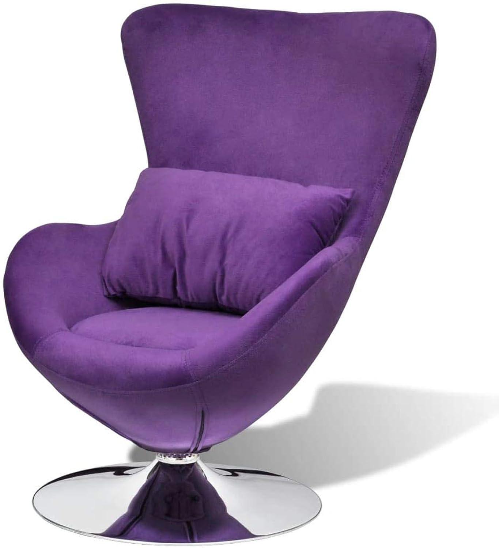 VidaXL Luxury Retro Purple Egg Swivel Chair Chrome Recliner Seat Lounge Armchair