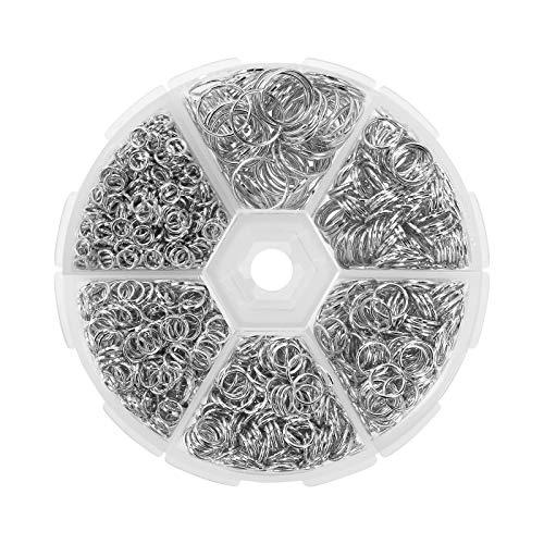Anillas Abiertas 1390 Piezas Anillas de Metal Anillo de Salto Abierto para Collares de Conexión Fabricación de Joyas de Bricolaje 4 mm a 10 mm 6 Tamaños Plata