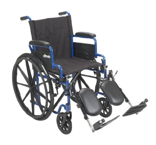 Drive Medical BLS18FBD-ELR Blue Streak Wheelchair with Flip Back Desk Arms, Elevating Leg Rests, 18 Inch Seat