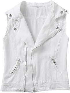 Kedera Women's Denim Vest Plus Size Lapel Waistcoat Jeans Vests Jacket 3XL
