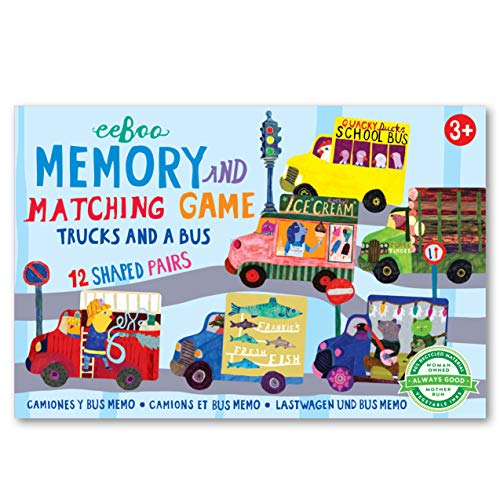 eeBoo Trucks and a Bus Little Shaped Memory Matching Game for Kids, Multi (LGTRU)