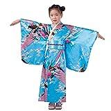 Vestido Niñas Kimono Japones Niños Vestidos para Niña Niños Yukata Tradicional Ropa Niña Satén Soft Flor Peacock Estampado Albornoces Pijamas para los Niños Fotografia Cosplay (Cielo Azul, 9-10 años)