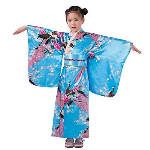 YWLINK Vestidos De Fiesta para NiñAs De 4 A 10 AñOs,Disfraz De Kimono Satinado De Manga Larga Bata+Sello De Cintura+Espalda Set 3PC Fiesta De Carnaval Juego De Roles Regalo De CumpleañOs