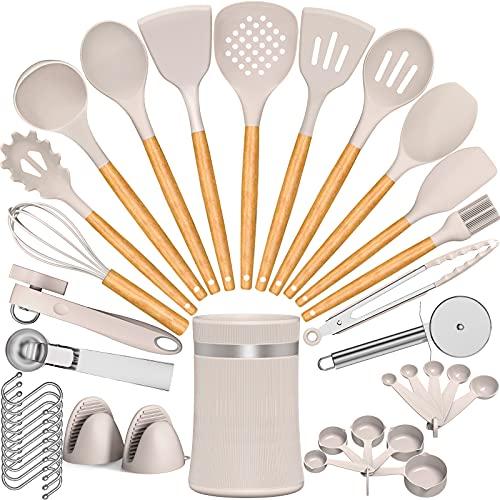 Umite Chef Silicone Cooking Utensil Set, 38 pcs Silicone Cooking Kitchen Utensils Set with Wooden Handle, Non-stick Heat Resistant - Best Kitchen Cookware Set- Khaki(BPA Free, Non Toxic)