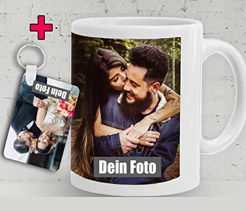 DEKO - Tasse selbst individuell mit eigenem Foto gestalten mit Schlüsselanhänger/Personalisierbar mit eigenem Foto Bedrucken/Fototasse/Motivtasse/Werbetasse/Weiss - Glanz. 2 Werktage Versandfertig