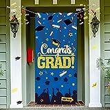 Decoración de Fietsa de Graduación de 2021, Cubierta de Puerta Señal de Feliz Graduación de Tela Grande Telón de Fondo Cabina de Fotos Bandera de Fiesta de Graduación para Fiesta (Azul)