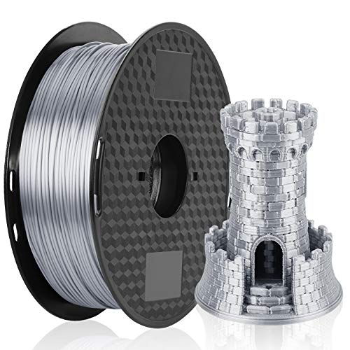 3D Printer Filament Silk Silver, MKOEM Silky Shiny PLA Filament 1.75mm for 3D Printer and 3D Pen, 1kg 1 Spool