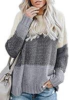 Astylish Damen Pullover Oberteile Sweater Strickpullover mit Fledermaus?rmel warm Farbblock Kontrastfarbener Pullover...
