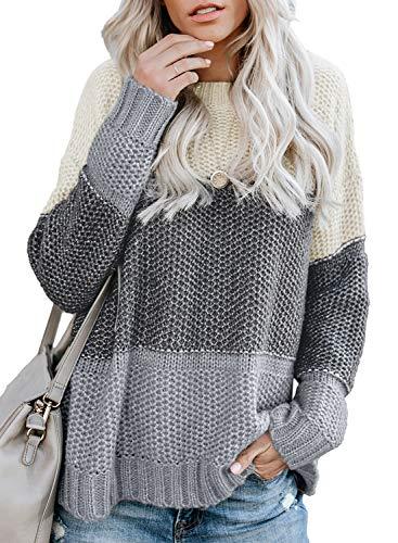 FIYOTE Damen Strickpullover Farbblock Pullover Casual Winter Sweater Sweatshirt Winter Bluse Streifenpullover 4 Farbe S/M/L/XL/XXL, 1-grau, Small(EU34-36)